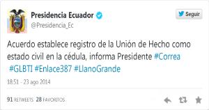 Ecuador sigue avanzando en derechos para parejas del mismo sexo-Siluetax