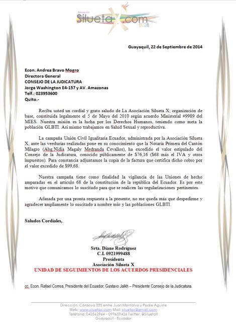 Carta al Consejo de la Judicatura por el Cobro excesivo de la notaria primera del cantón Milagro - Asociación Silueta X