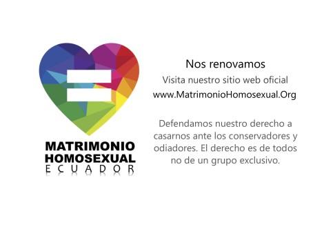 Difusión del nuevo sitio web del Matrimonio Homosexual Ecuador o del mismo sexo