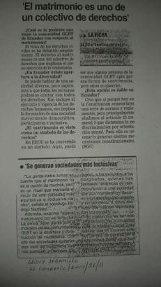 Geovanni Jaramillo Sobre el Matrimonio Homosexual o del mismo sexo en Ecuador en el año 2001 Diario El Comercio