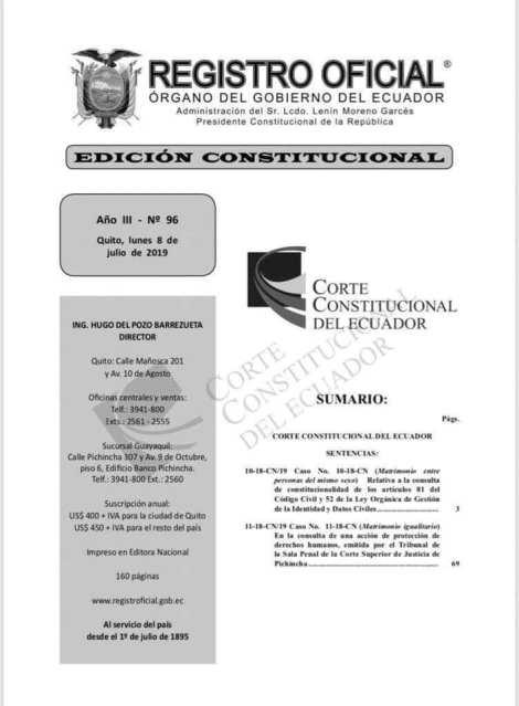 Registro Oficial de la Corte Constitucional sobre la aprobación del Matrimonio Homosexual en Ecuador